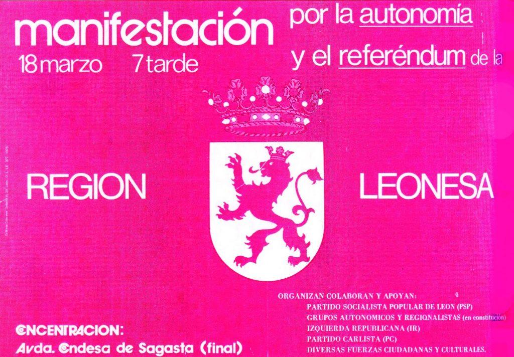 artel convocando a la primera manifestación por la autonomía leonesa que se celebró el 18 de marzo de 1978